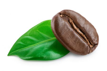 roasted coffee bean with leaves isolated on white background